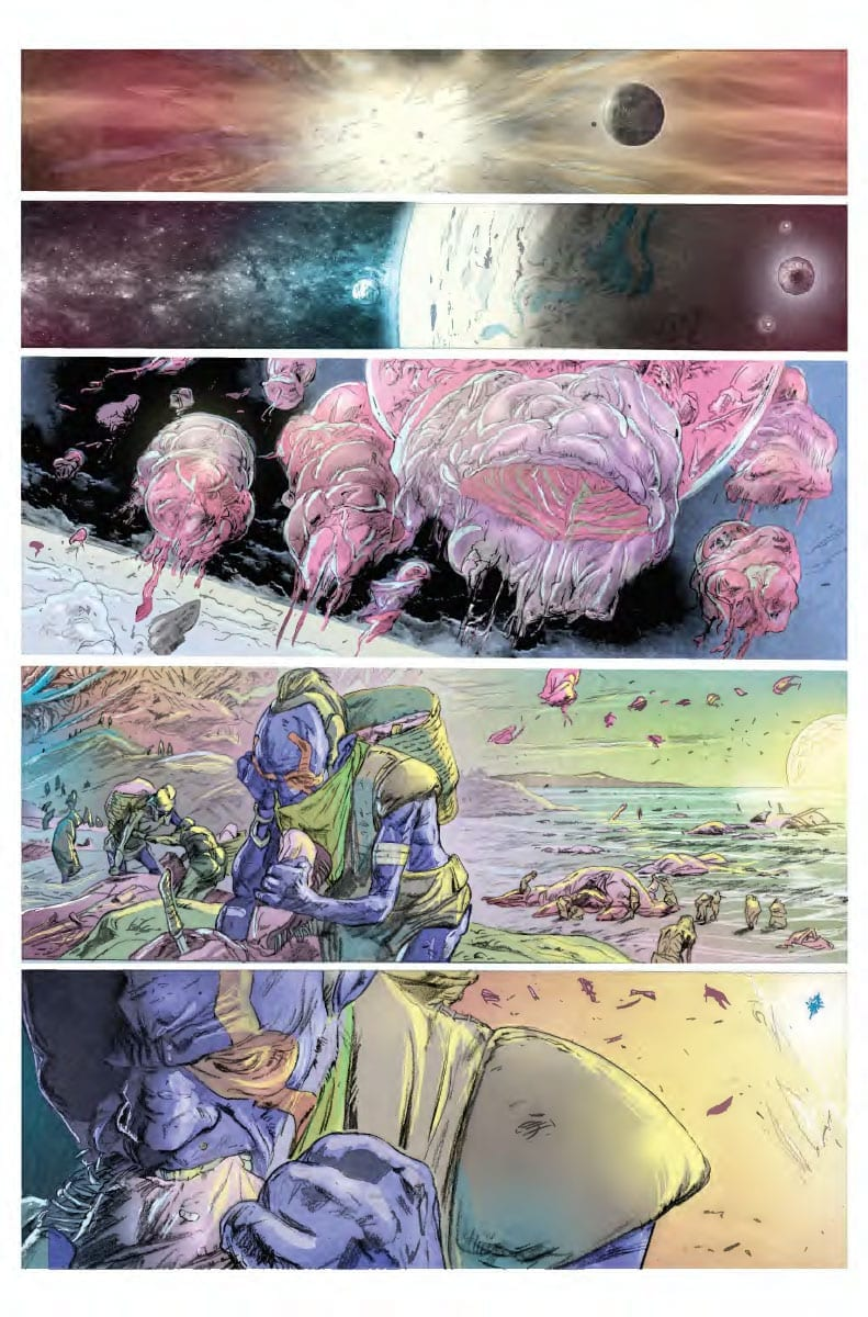 exotic landscape of alien planet affected by a virus