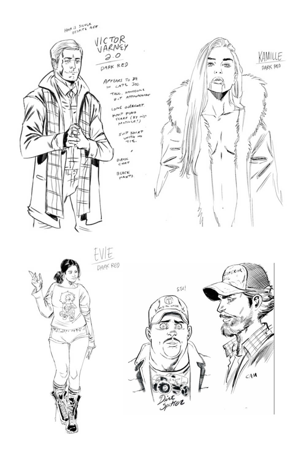 Dark Red Character Sketches