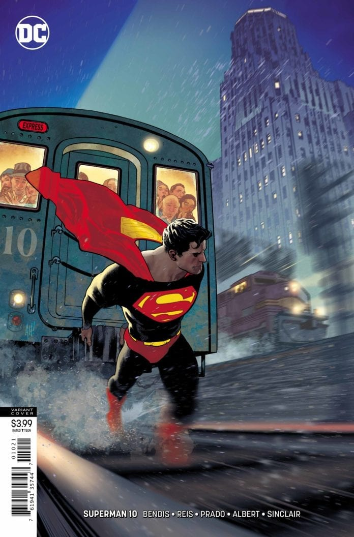 SUPERMAN #10 variant cover of superman pulling a train