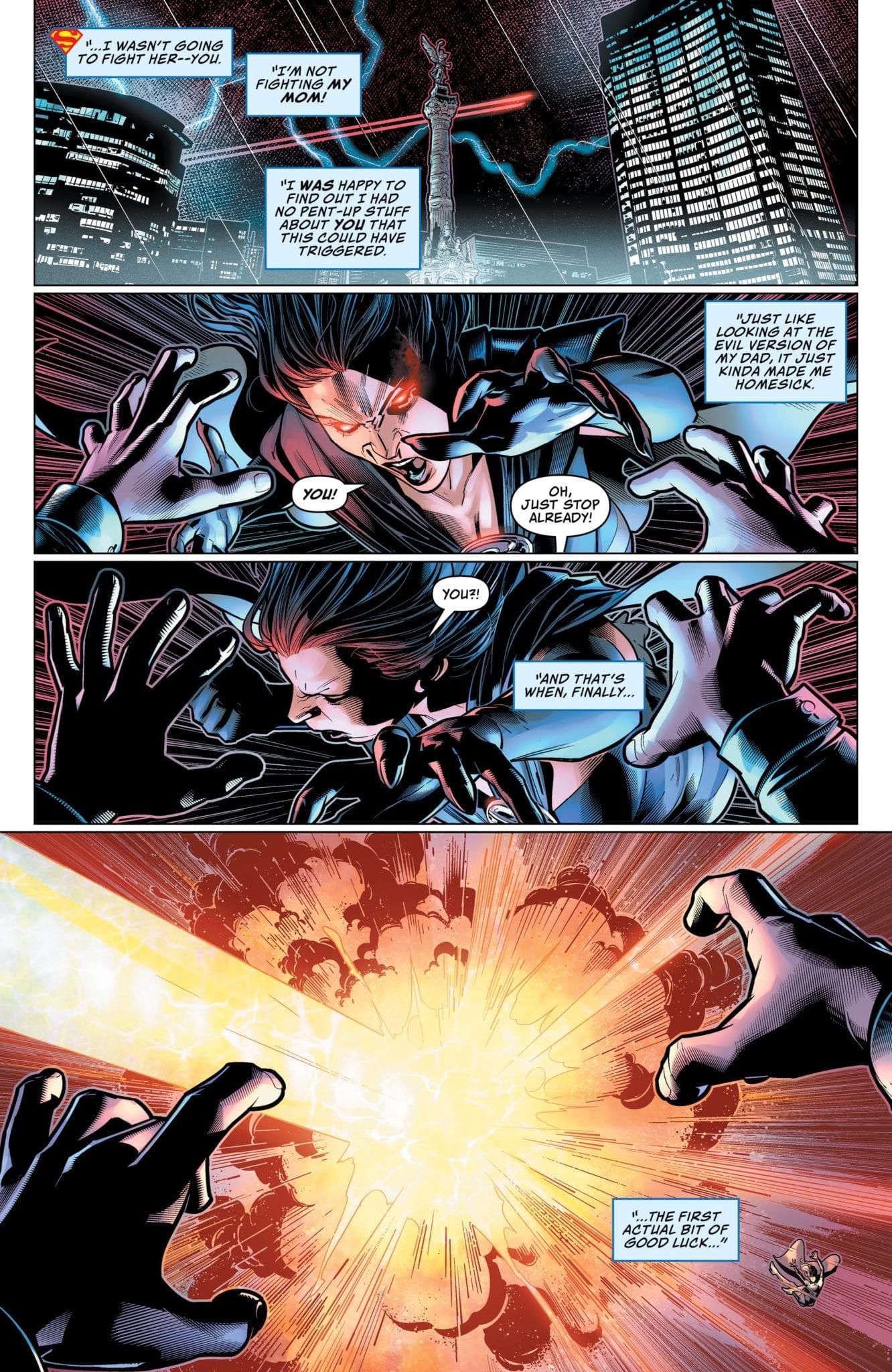 Superboy escaping through space