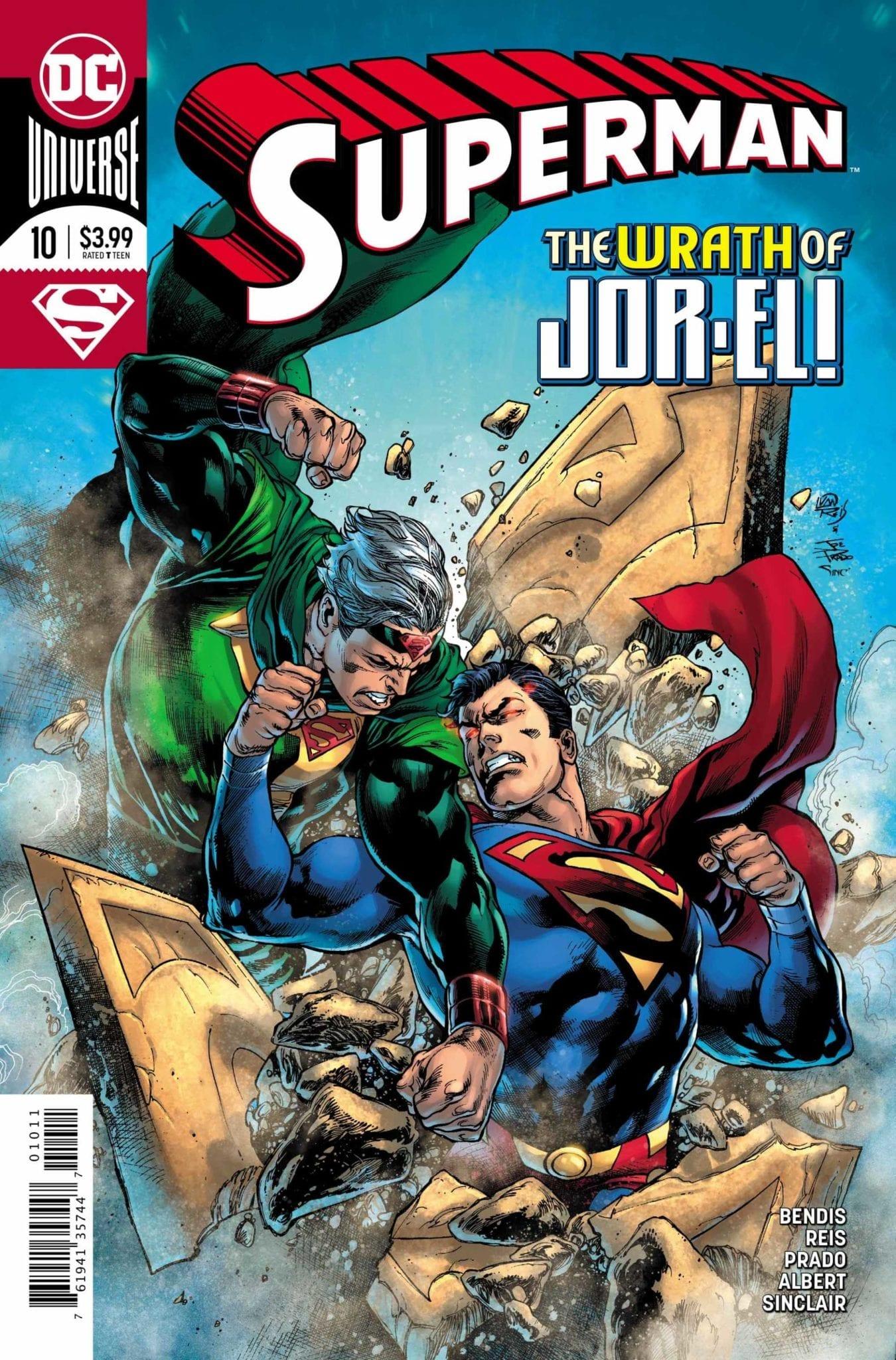 SUPERMAN #10 cover art of superman and jor-el