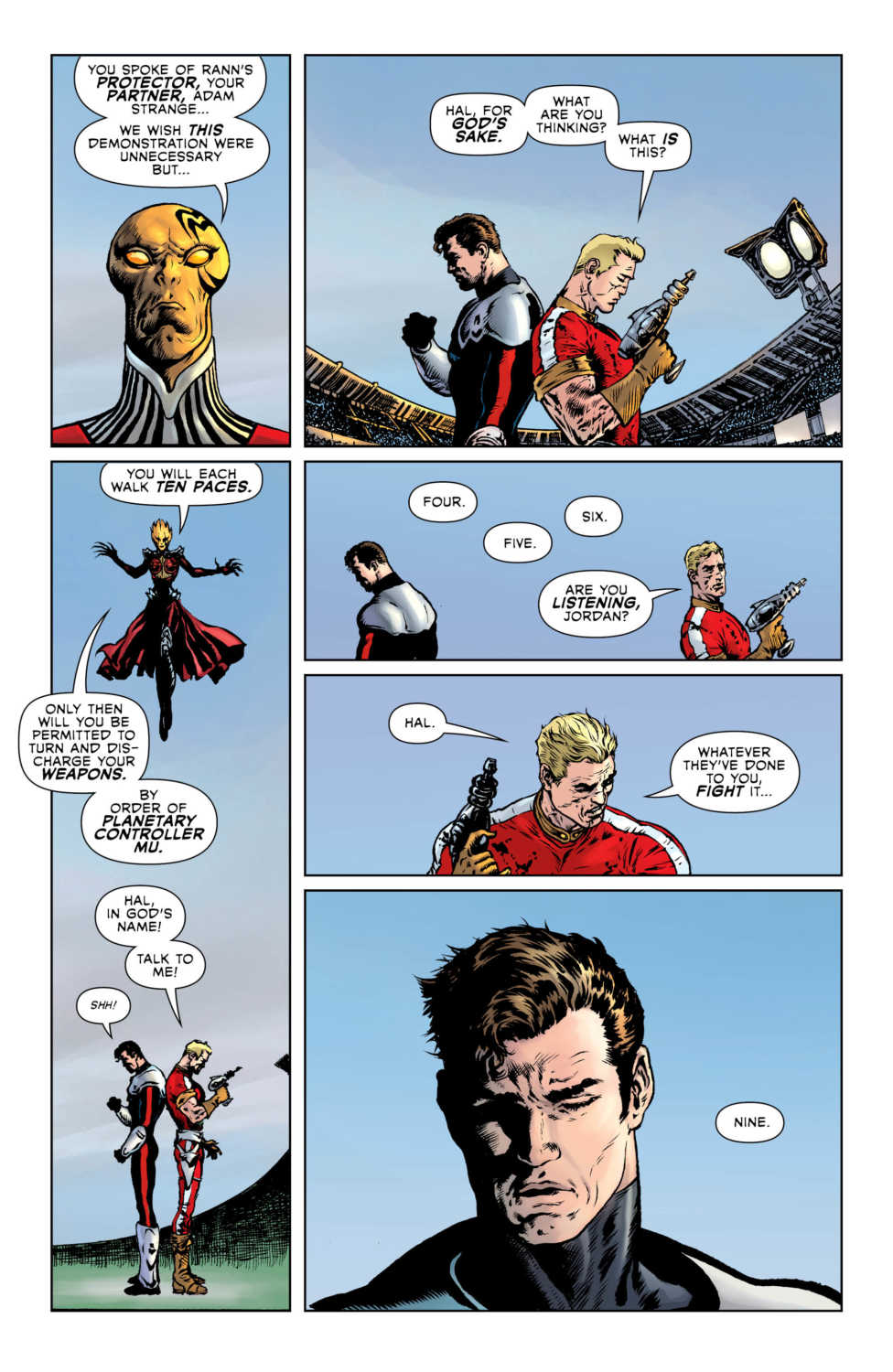 Hal and Adam Strange standoff with Countess