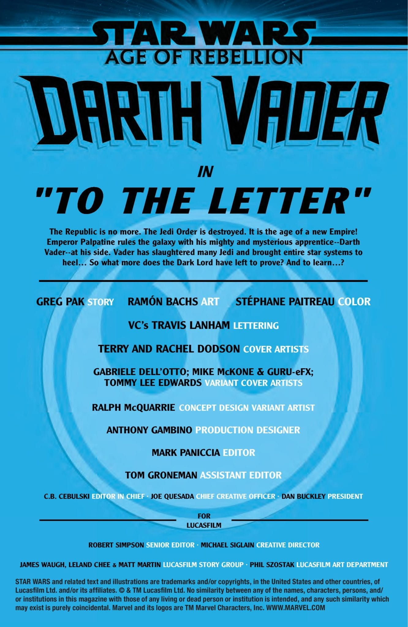 Marvel Comics Exclusive Preview: STAR WARS AGE OF REBELLION DARTH VADER #1 1