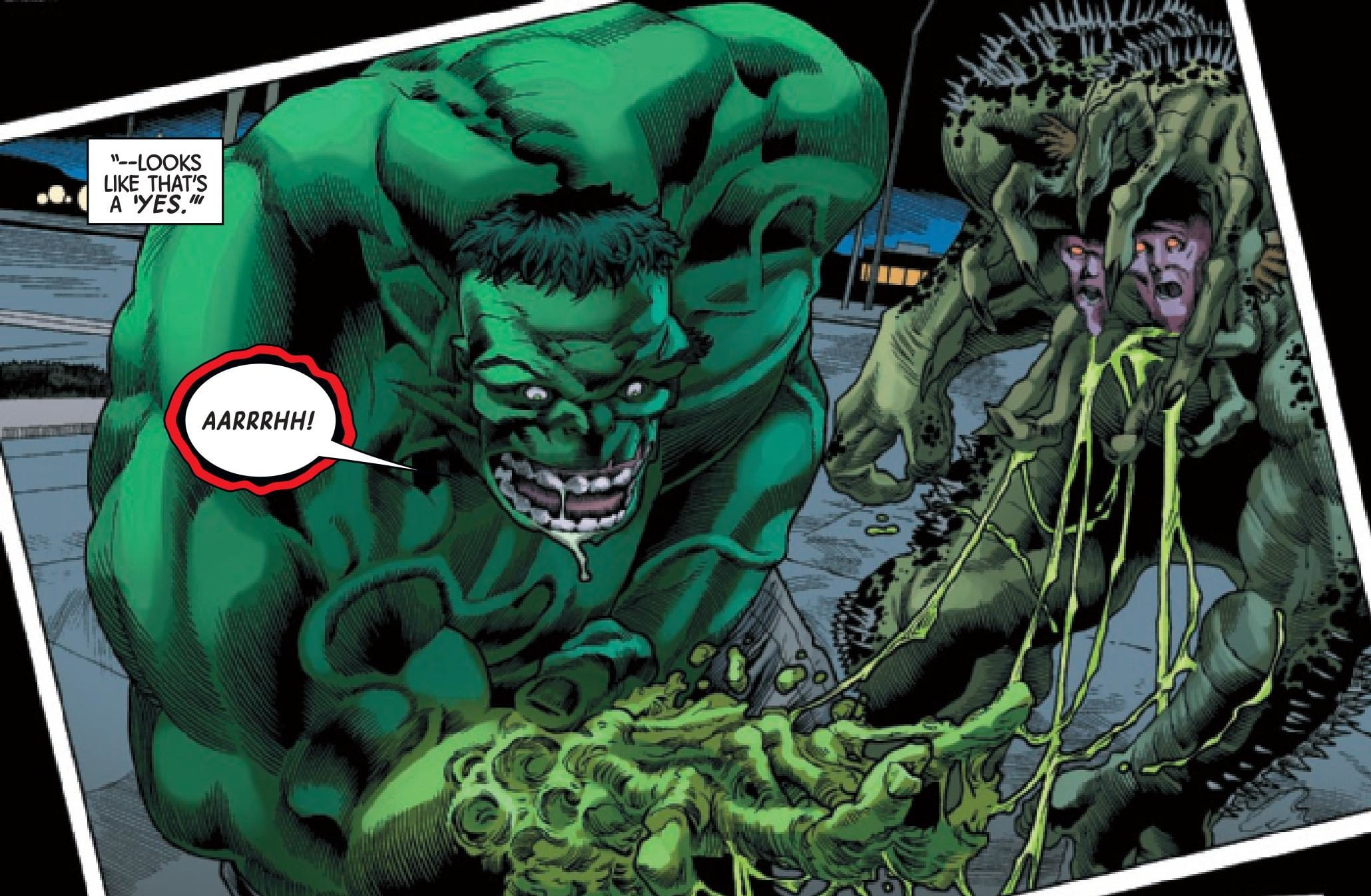 Hulk fighting a Rick Jones Abomination