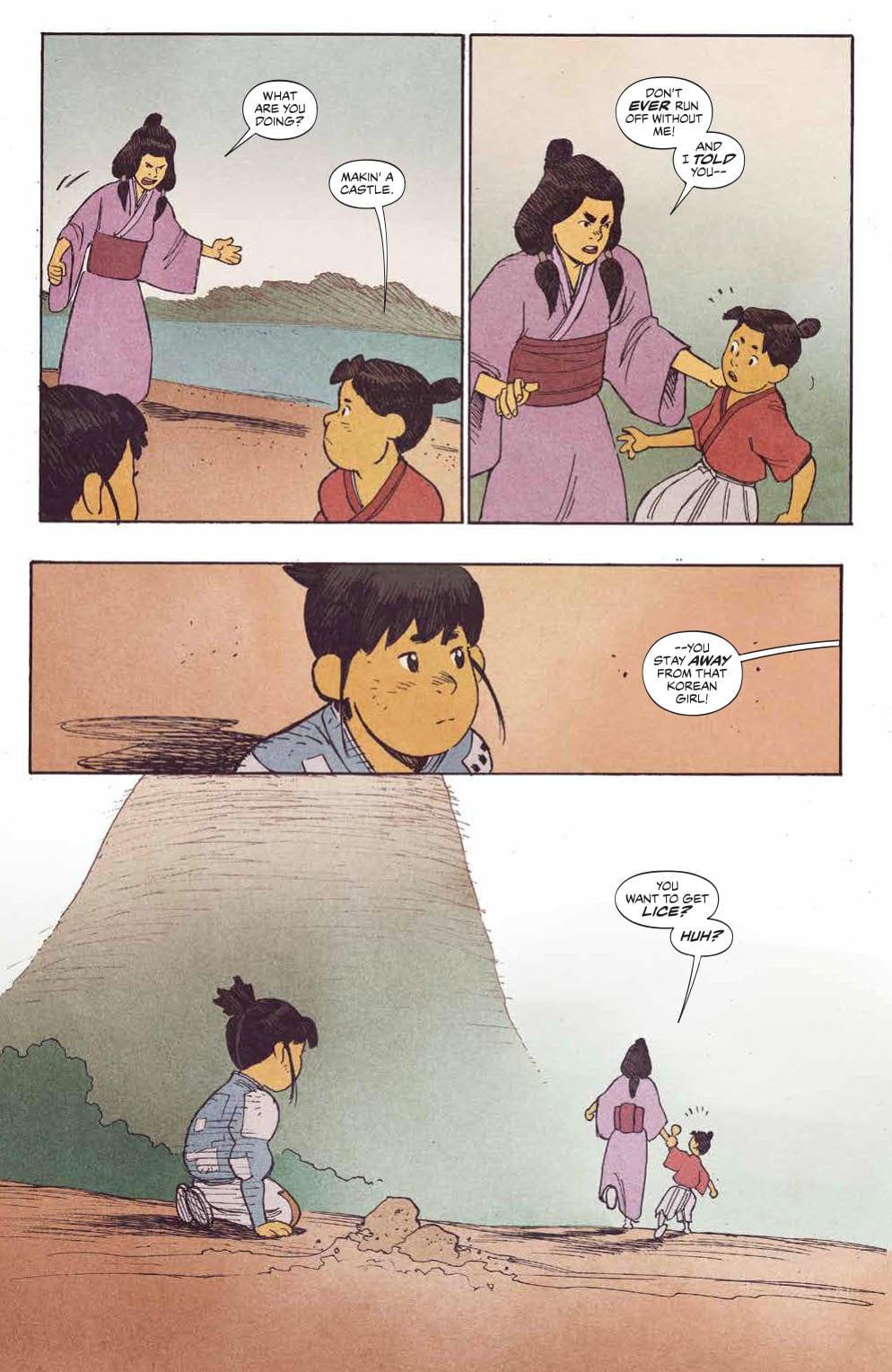 Kenichi's mother taking him away from Hana as children