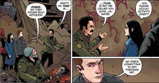 Kinsley and Hellboy investigate cult symbols