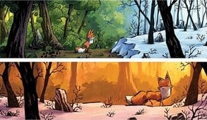 Fox waits for Abel outside of The Winter Woods