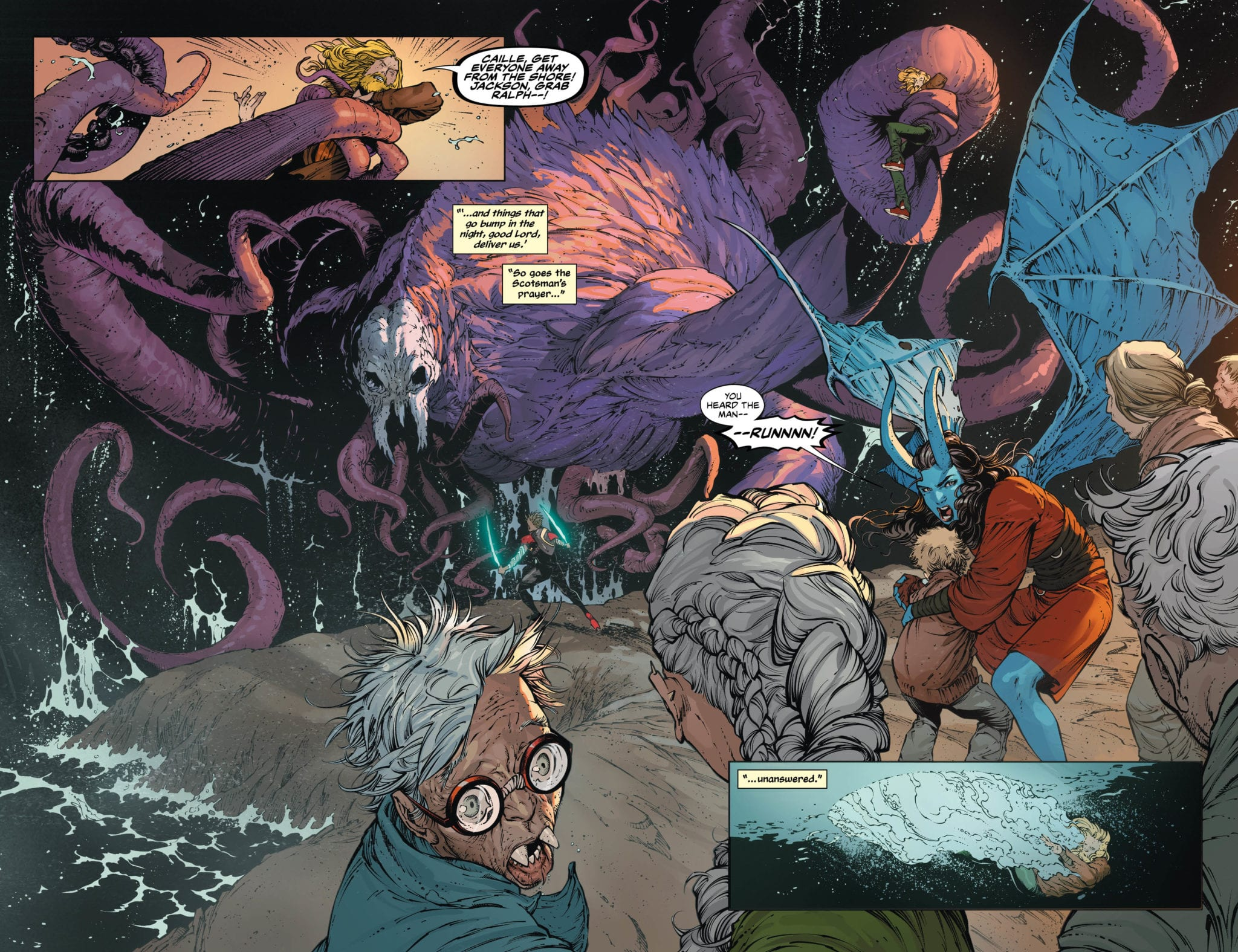 the monster attacks the Old Gods on Amnesty Island