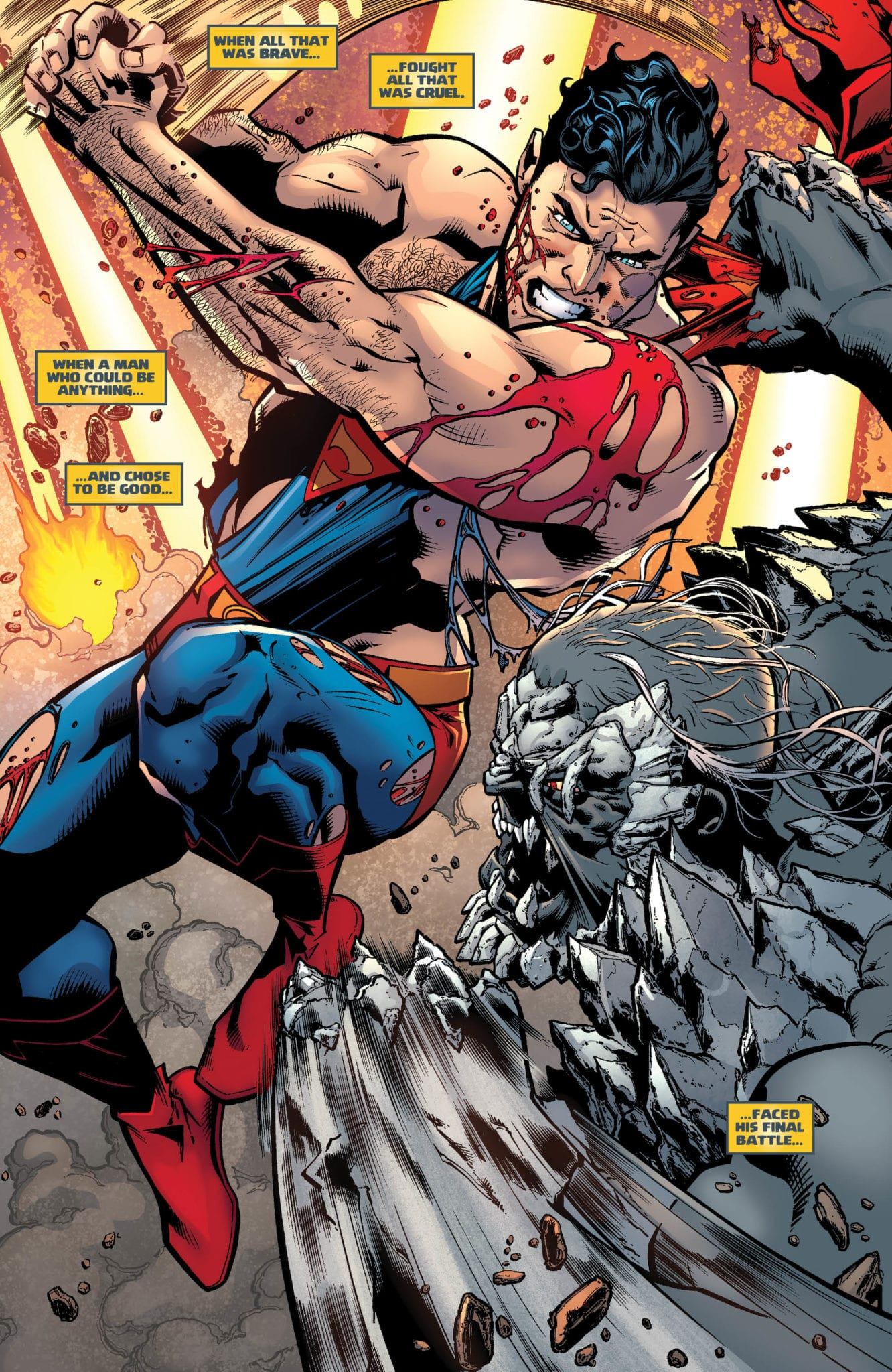 Superman fights against Doomsday in the Dark Multiverse