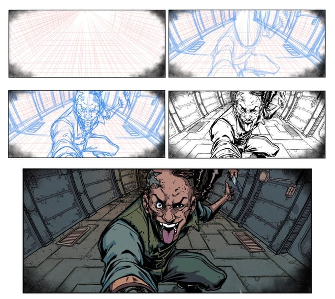 Wretches #2 Roughs to Pencils to Inks by Salo