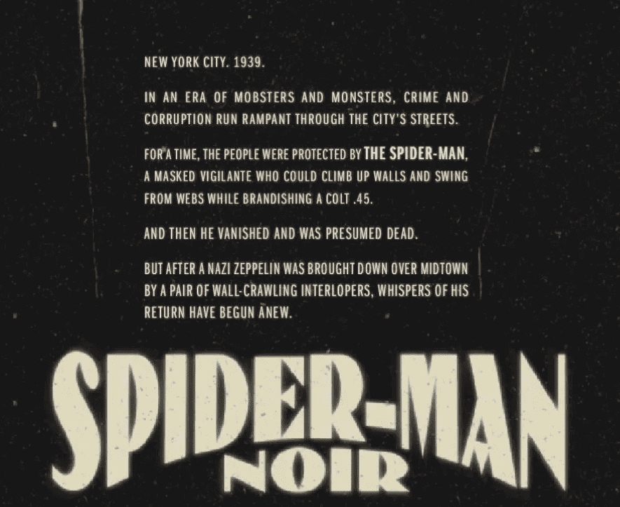 Spider-Man Noir #1 Origin/Title page