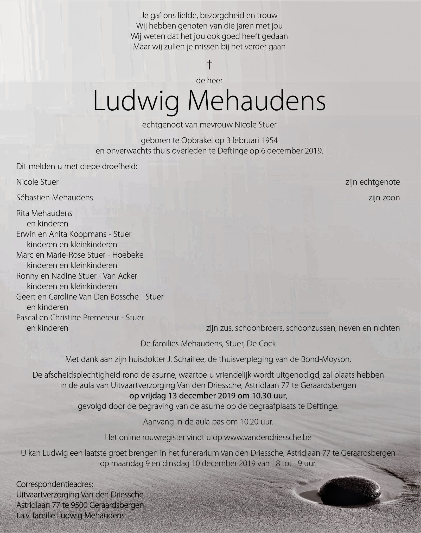 rouwbrief Mehaudens Ludwig
