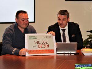 Jurgen Soetens en Steven Vekeman presenteren de symbolische cheque.