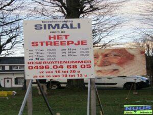 reclamebord Het streepje op het plein van Sesjans.