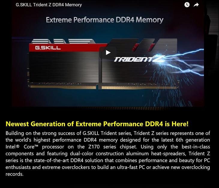 spec1 - Gskill TridentZ DDR4-3400 16GB Kit