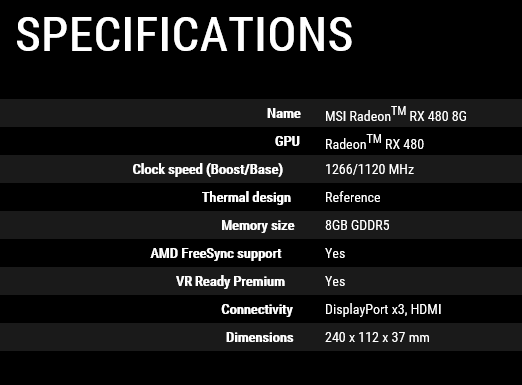 specs - MSI RX480 Released