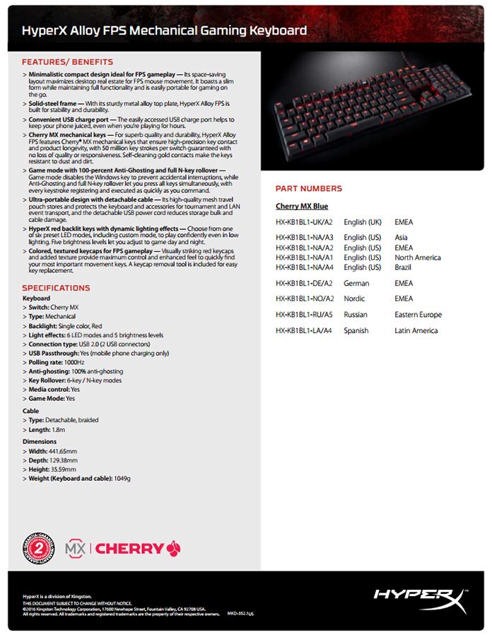 Specs3 - HyperX Alloy FPS
