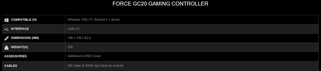 GC 20 Specs 1024x228 - MSI Force GC30 and GC20 New Wireless and Wired Game Controllers