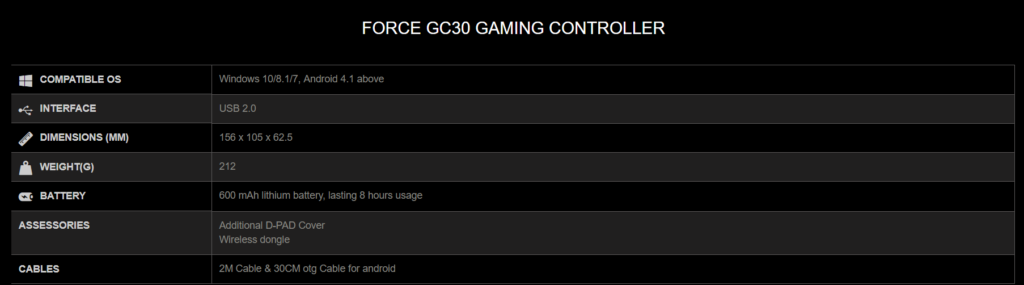 GC30 Specs 1024x285 - MSI Force GC30 and GC20 New Wireless and Wired Game Controllers
