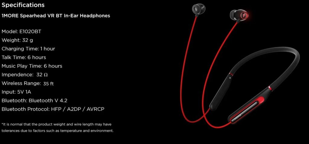 specs 1024x479 - 1More Spearhead VR BT In-Ear Review
