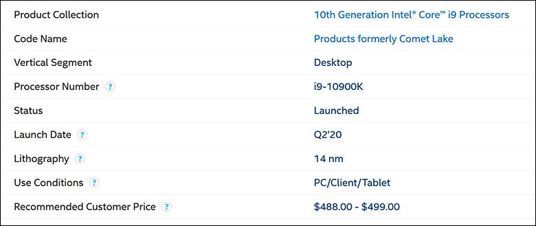Intel i9 10900K spec1 - Intel Core i9-10900K Review