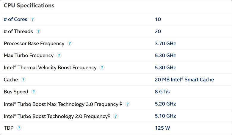 Intel i9 10900K spec2 - Intel Core i9-10900K Review