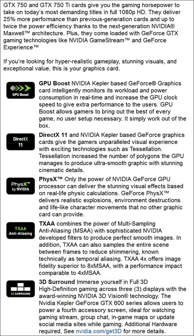 spec1 - PNY GeForce GTX 750Ti OC