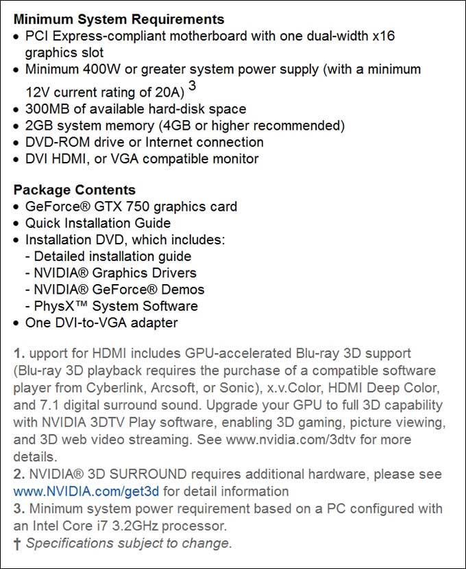 spec3 - PNY GeForce GTX 750Ti OC