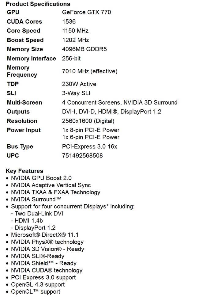 spec1 - PNY GeForce GTX 770 4GB XLR8 OC2