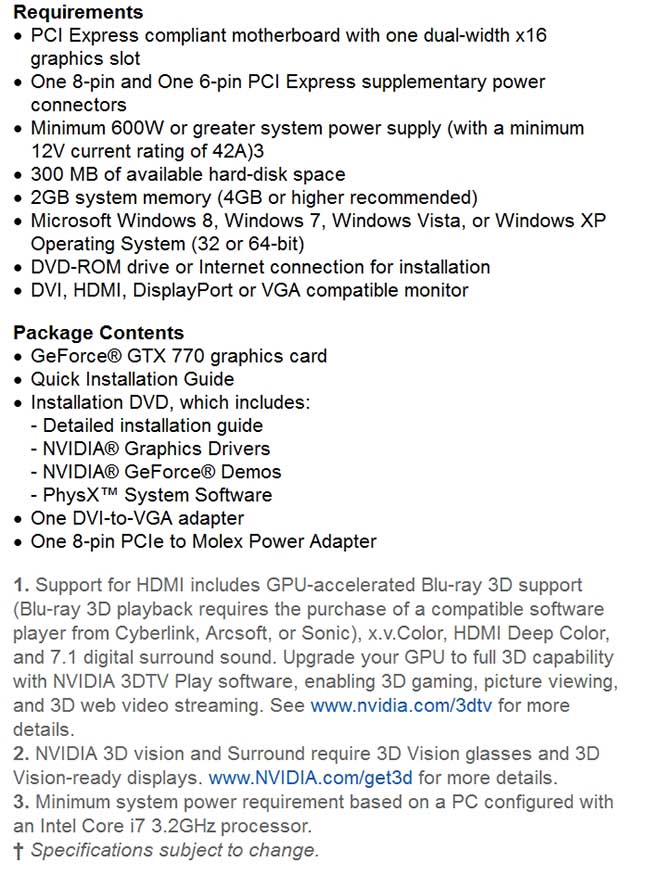 spec2 - PNY GeForce GTX 770 4GB XLR8 OC2