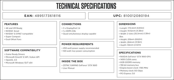 Zotac Gaming GTX 1660 spec2 - Zotac GAMING GeForce GTX 1660 Review