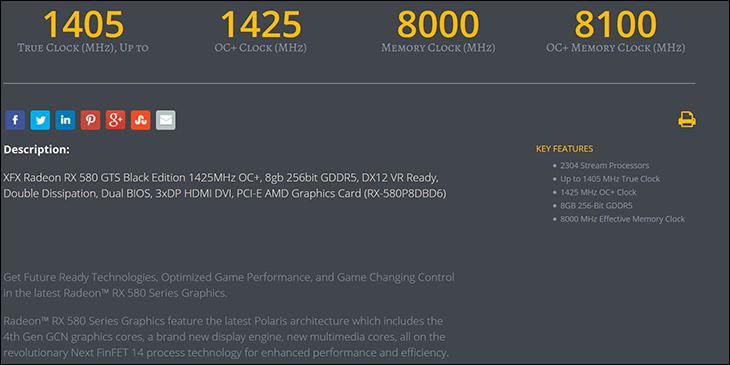 spec1 - XFX GTS Radeon RX 580 Black Review