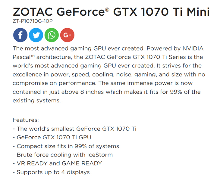 spec1 - Zotac GTX 1070Ti Mini: Good things can come in small packages