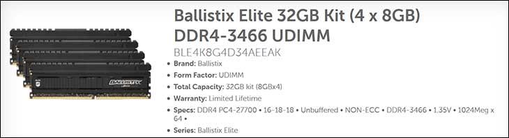 spec1 - Ballistix Elite 32GB DDR4-3466: Breaking the 2T Barrier