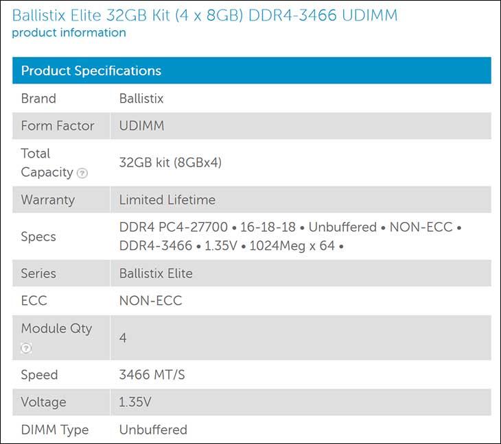 spec2 - Ballistix Elite 32GB DDR4-3466: Breaking the 2T Barrier