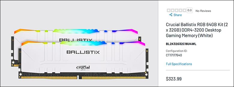 spec2 - Ballistix Gaming DDR4-3200 64GB Review