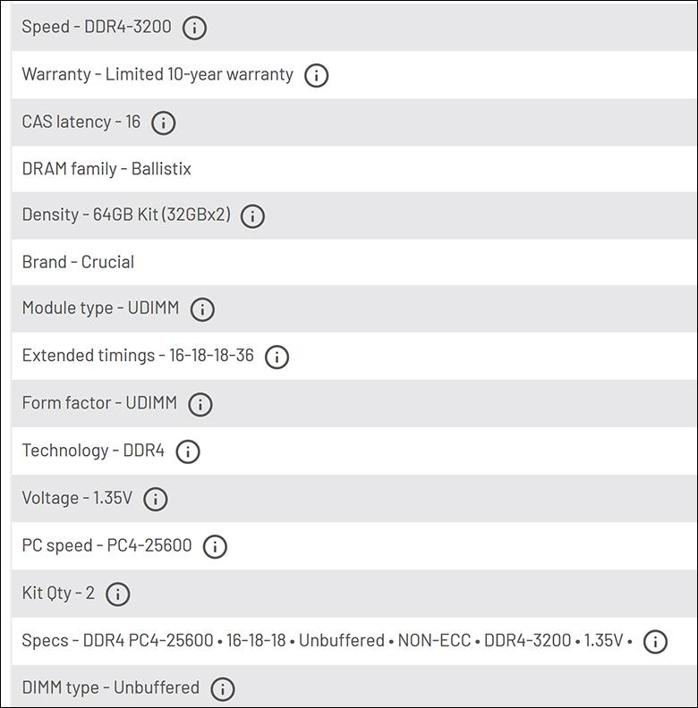 spec4 - Ballistix Gaming DDR4-3200 64GB Review