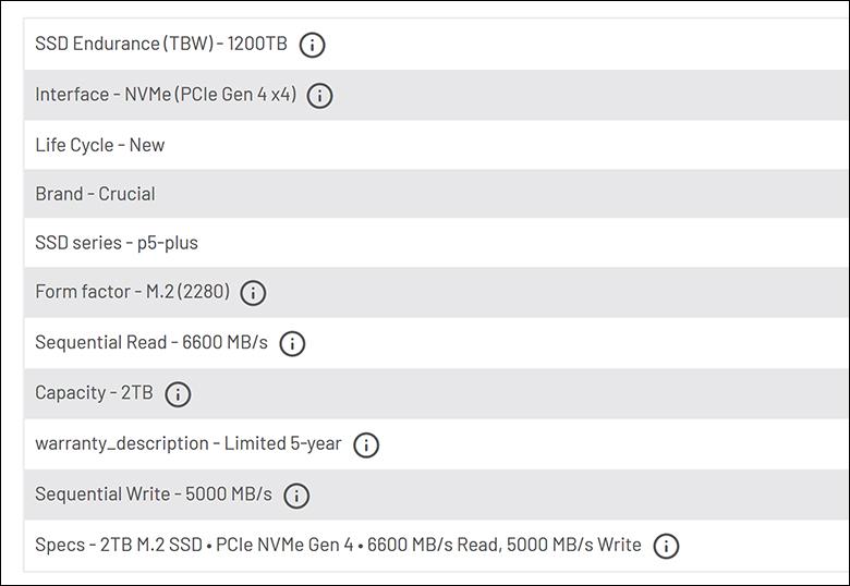 spec4 - Crucial P5 Plus 2TB Review
