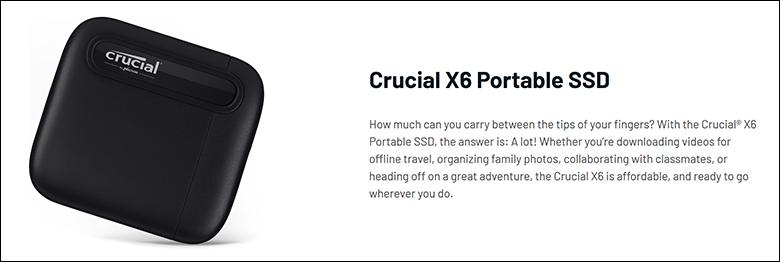 Crucial X6 2TB spec1 - Crucial X6 2TB External SSD Review