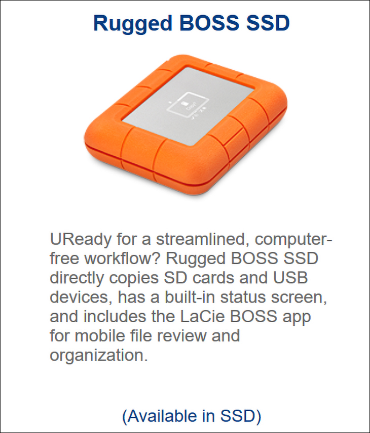 LaCie Rugged Boss SSD spec1 - LaCie Rugged BOSS SSD Review