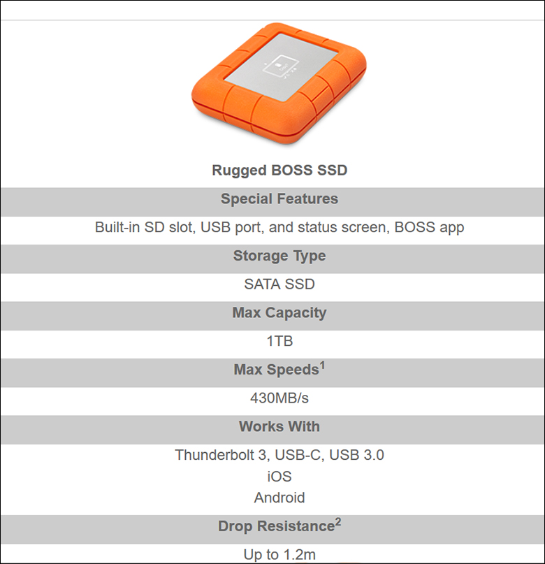 LaCie Rugged Boss SSD spec2 - LaCie Rugged BOSS SSD Review