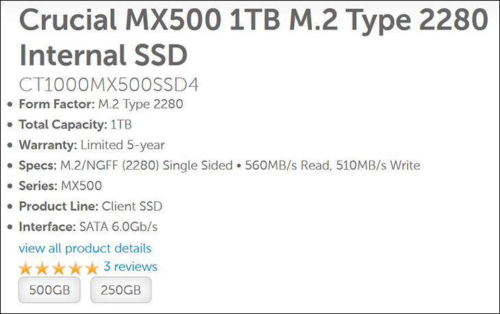 spec1 - Crucial MX500 1TB M.2: Small in Size, But Big in Value