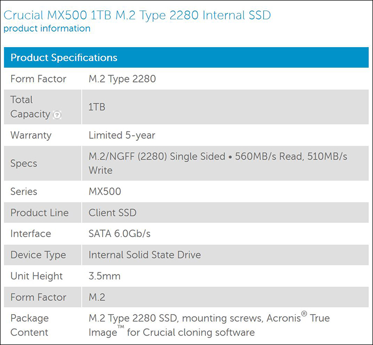 spec2 - Crucial MX500 1TB M.2: Small in Size, But Big in Value