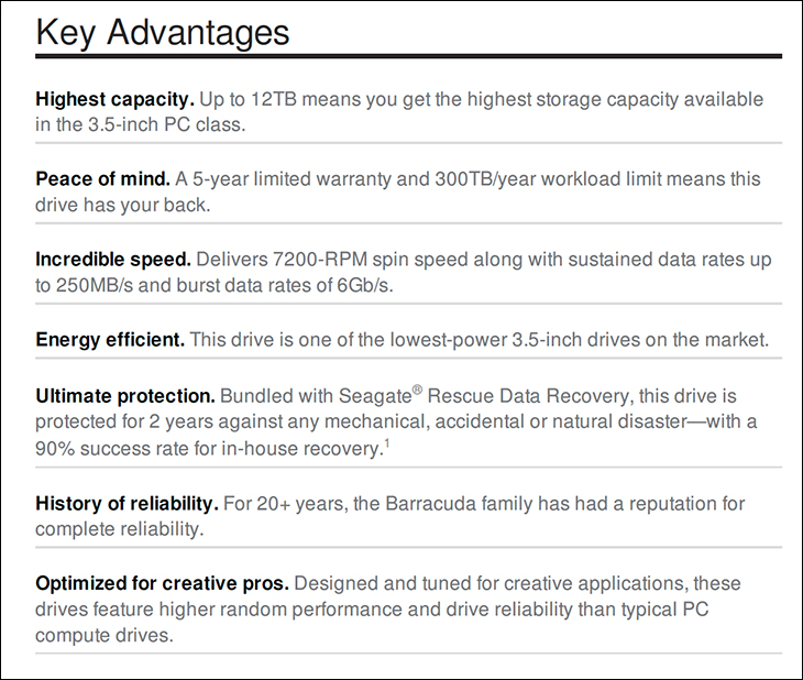 BarraCuda Pro 10TB spec2 - Seagate 10TB BarraCuda Pro: Redefining the term High Performance Hard Drive Review