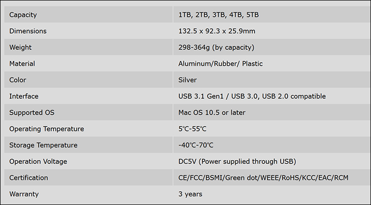 spec1 - Silicon Power Armor A85M 5TB