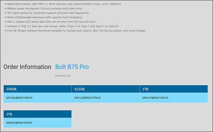 spec5 - Silicon Power Bolt B75 Pro Review