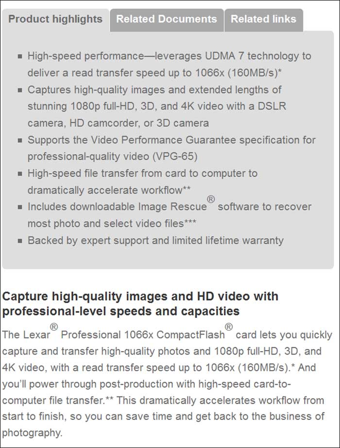 spec1 - Lexar Pro 1066x (CF)
