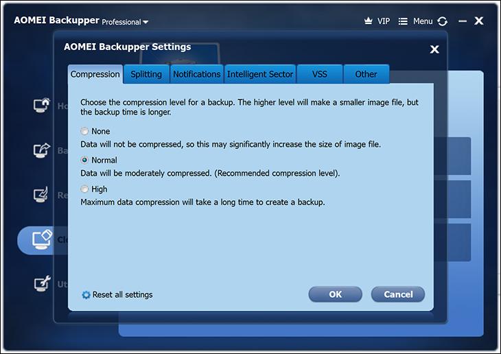 compression - Aomei Backupper Free & Pro Review