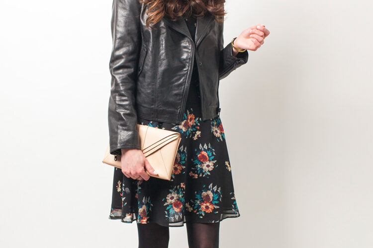 Style Bee in a floral dress and leather jacket.