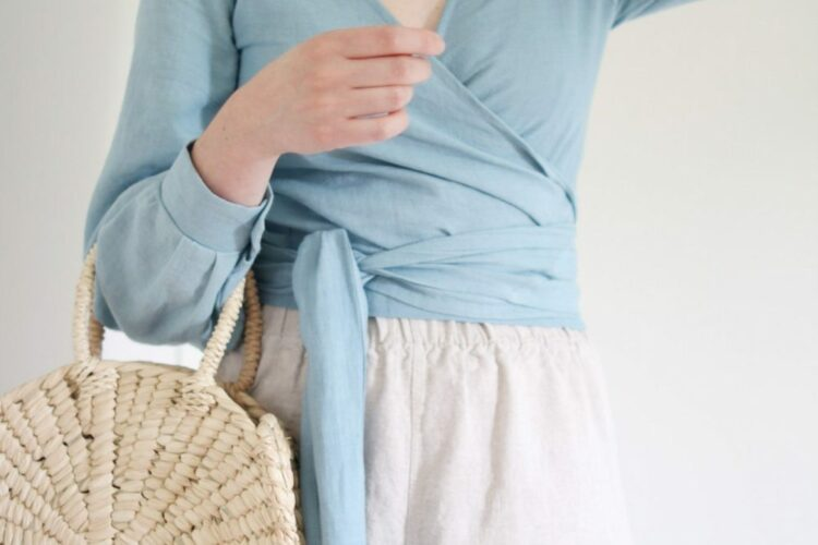 Style Bee - August Outfits #3 - Blue Wrap Top + Flax Florence Pant + Gemma Flat Sandal + Circulo Tote + Tassel Earrings
